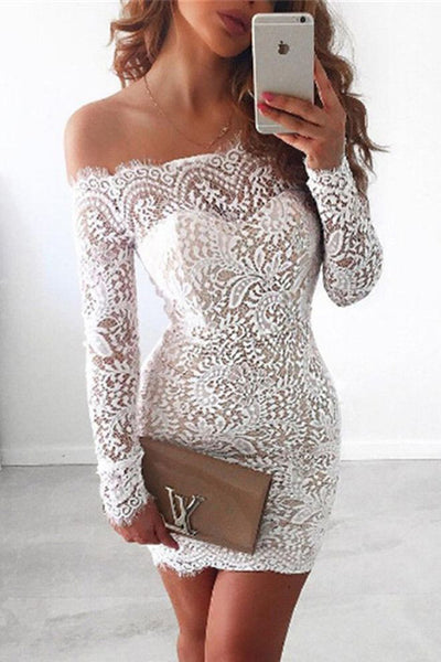 White Homecoming Dress,Lace Homecoming Gown,Bodice Prom Dresses,Mini Dress,Off the Shoulder Prom Dress,Long Sleeves Dress,Sexy Cocktail Dresses,Cocktail Party Dresses