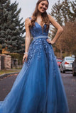 A Line Blue Long Beaded Prom Dresses, Formal Lace Appliques Prom Gowns OKT42
