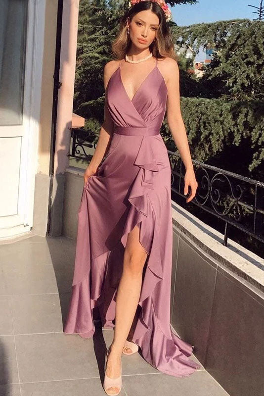 A-Line Cross Back Prom Dresses Long Sexy V-neck Split Evening Party Gowns For Women OKW30