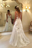 Elegant A-line V-neck Tulle Floor Length Wedding Dresses With Lace Appliques OKC94
