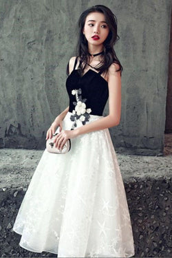 Elegant Black and White Short A Line Lace Homecoming Dresses OKD39