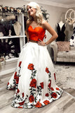 Charming Two Piece A Line Sweetheart Floral Long Prom Dress OKS3