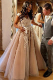 Charming A-Line V Neck Long Prom Dresses with White Appliques,Formal Party Dresses OKU17