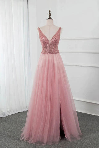 Pink Split Long Pom Dresses Beading Sequined Tulle V Neck Sleeveless Party Gown OKW73