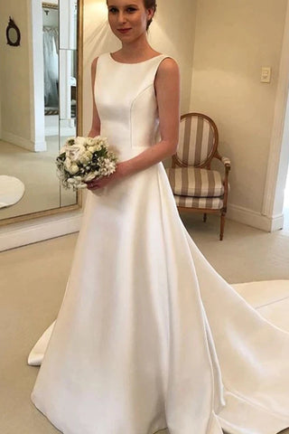Cheapest Boho A-line Jewel Backless Wedding Dress Chapel Train Satin Bridal Dress OKX6