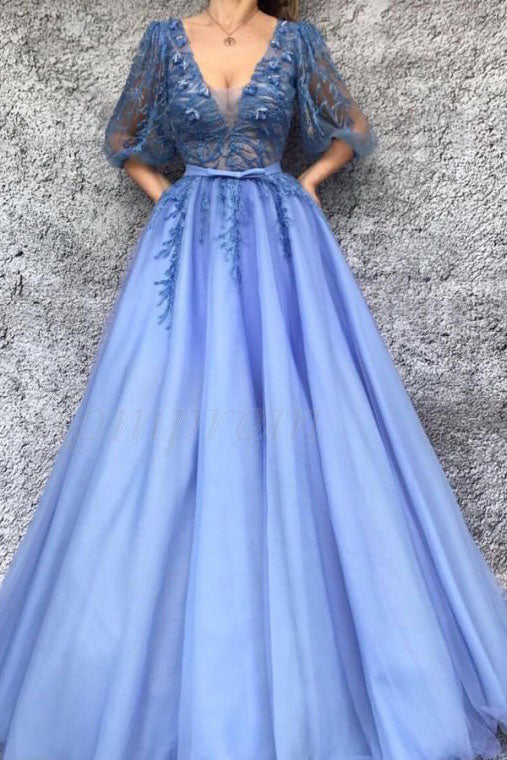A-Line V-Neck Half Sleeves Tulle Prom Dress with Appliques OKQ94