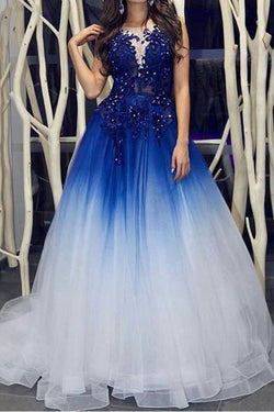 Elegant Royal Blue White Ombre Long Prom Dresses with Appliques for Teens OKH18