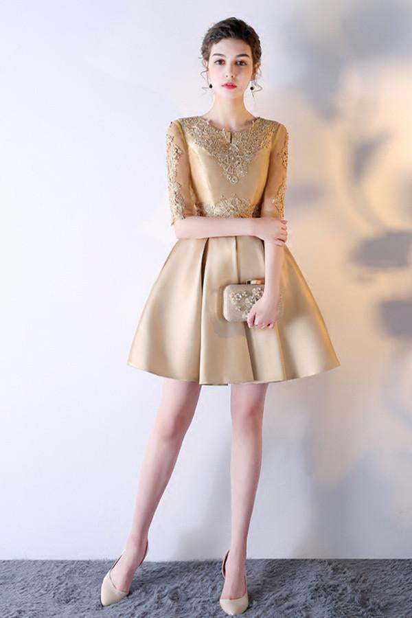 A-Line Solid Color Half Sleeve Homecoming Dress Short Prom Dress With Appliques OK383