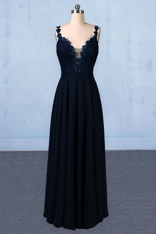 Navy Blue Chiffon V Neck A Line Long Prom Dresses With Lace Top OKQ21
