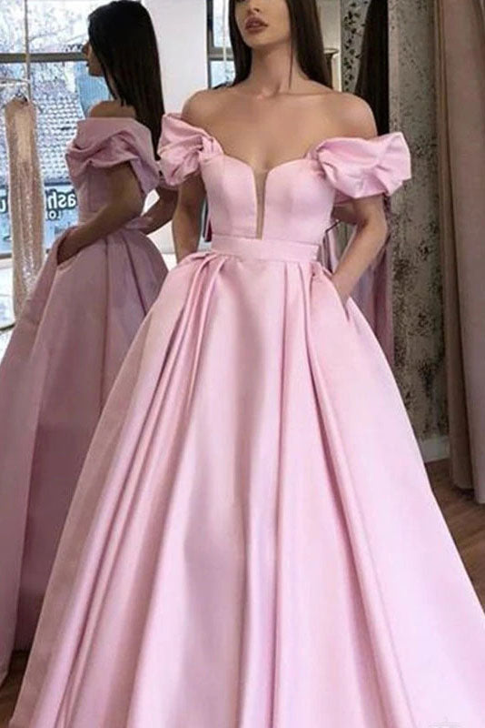 Pink Puffy Sleeves Satin Prom Dresses A Line Long Party Evening Dresses With Pockets OKV68