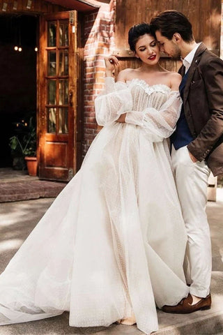 Ivory Tulle Off the Shoulder Bride Dress Simple Long Puffy Sleeves Wedding Gown OKW52