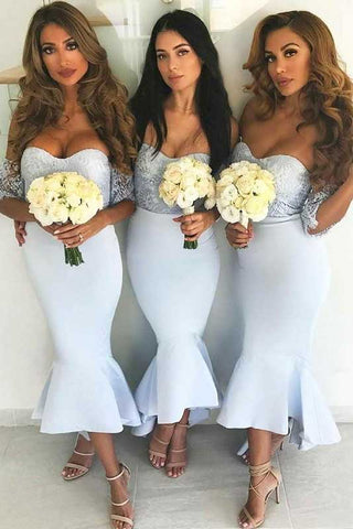 Off Shoulder Short Sleeve Mermaid Bridesmaid Dresses With Lace OKB59