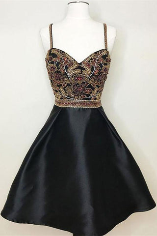 New Arrival Black Spaghetti Straps A Line Beading Homecoming Dresses OKO58