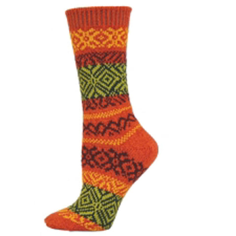 Prairie Fair Isle Crew Socks Coral - Unique Sports Accessories