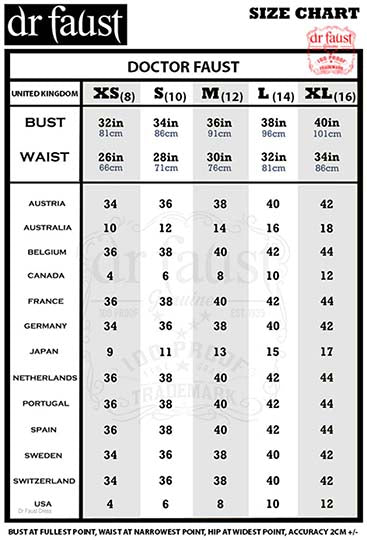 doctor faust dress size chart