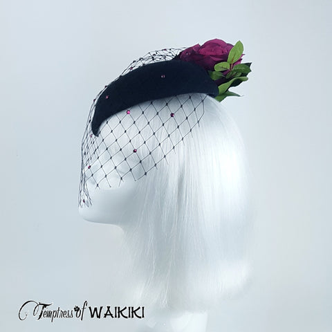 Vintage inspired Black Netted Hat