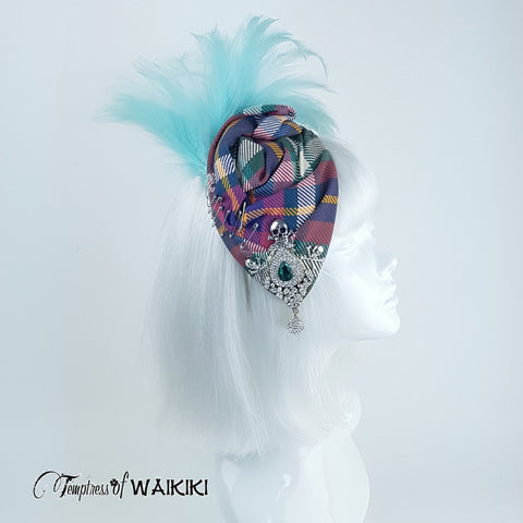 Vintage inspired Tartan Feather Hat