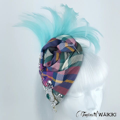 Elegant Blue Feather and Tartan hat
