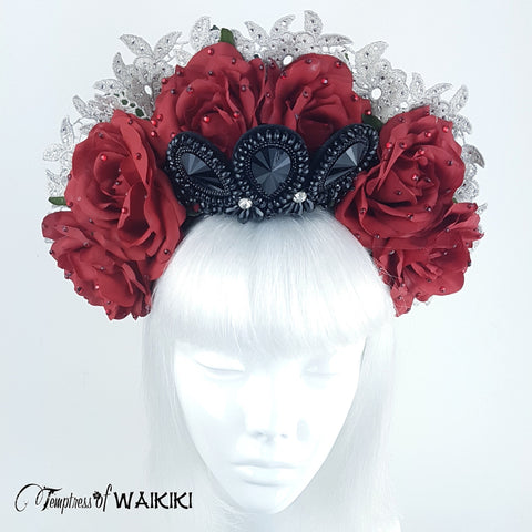 Black Crystal Red Roses Headband