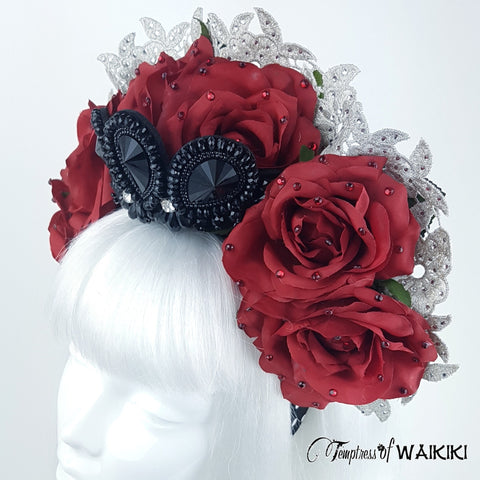 Red roses and Lace Headband