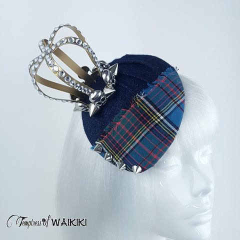 Quirky Tartan and denim crown hat