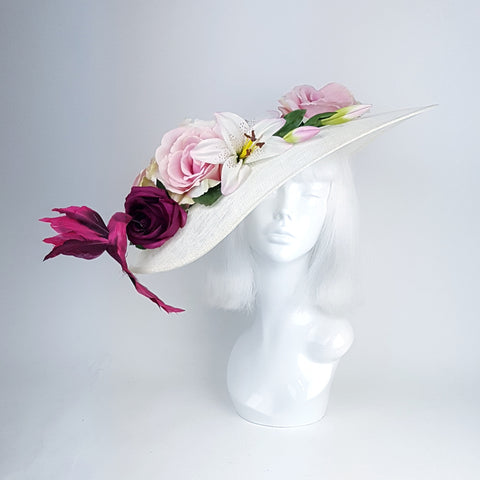 "Ivory & Pink Flower Hat ""English Rose"""