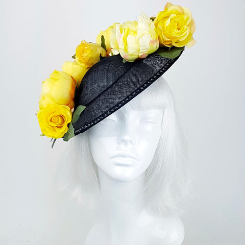 Yellow floral black hat with butterflies (ToWSale12)
