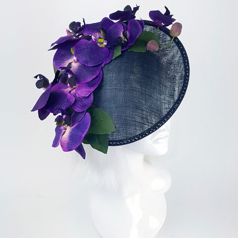 Deep purple orchid black hat (ToWSale09)