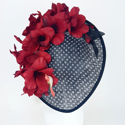 Polka dot bird hat with red flowers (ToWSale03)