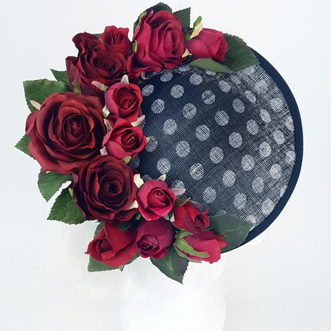 Polka dot red rose hat (ToWSale25)