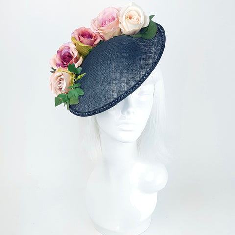 Black hat with blush pink roses (ToWSale20)