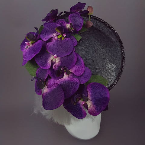 """ Viola Profondo"" Deep Purple Orchid Black Hat"