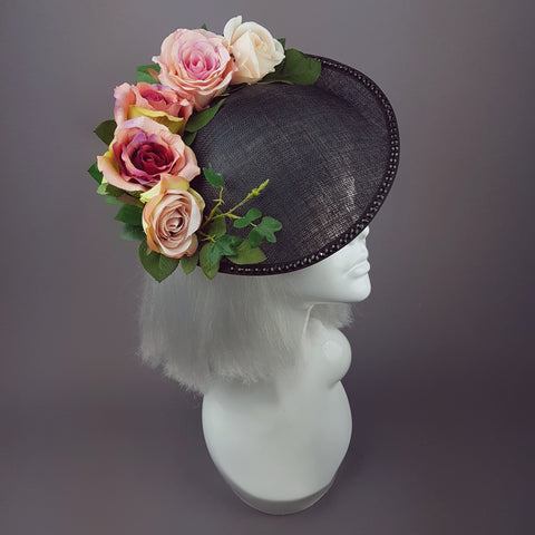 """Rougit"" Black Hat with Blush Pink Roses"