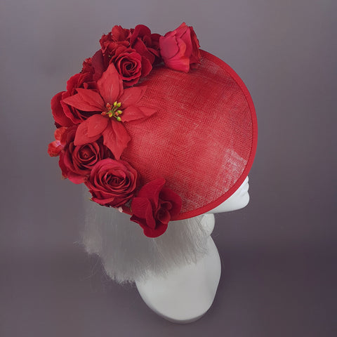 """Ellette"" Red Rose, Floral Ascot Wedding Hat"