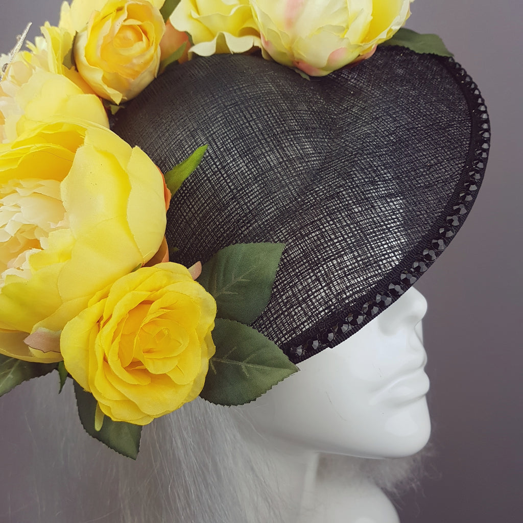 Amoureuseyellow Floral Black Hat With Butterflies