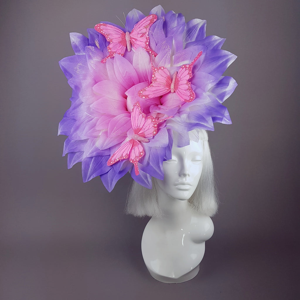 Celeste Giant Pink Flower Butterflies Hat
