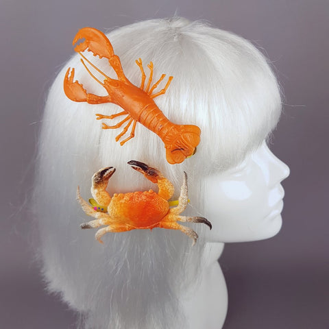 """South Pacific"" Crab & Lobster Hair Clip Set"