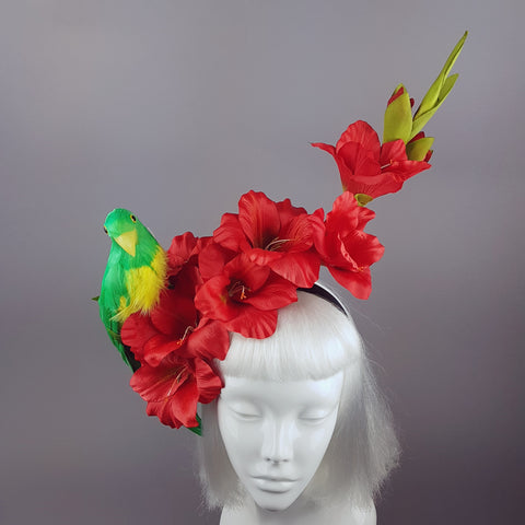 """Perroquet in Red"" Parrot & Gladioli Tropical Flower Headpiece"