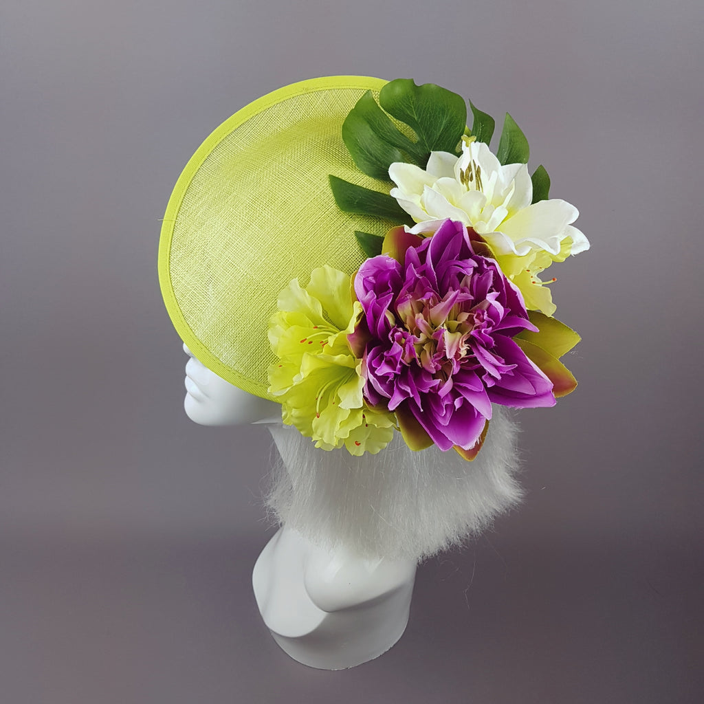 """Amour de Chaux"" Neon Lime Green, Floral Ascot Wedding Hat"
