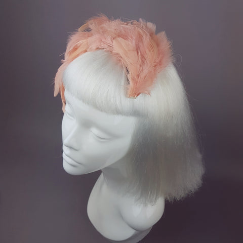 """Plume in Coral"" Vintage Inspired Feather Fascinator"