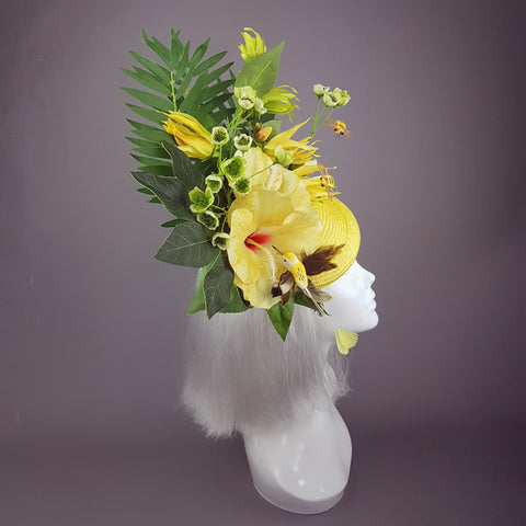 """Sunni"" Yellow Tropical Hibiscus Flowers Fascinator Hat"