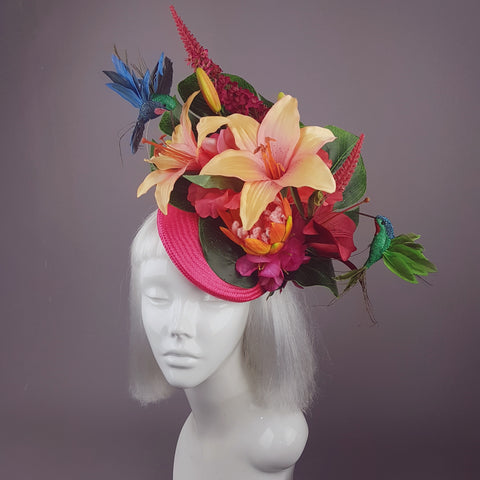 """Nerida"" Pink & Orange Tropical Hibiscus Flowers Fascinator Hat"