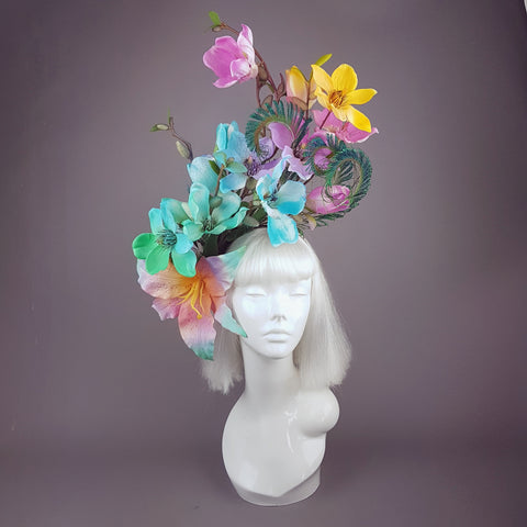 """Éclairer"" Rainbow Magnolia Flower & Peacock Feather Headpiece"