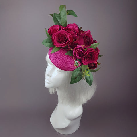 """Ruby Tuesday"" Pink Rose Flowers & Bee Fascinator Hat"