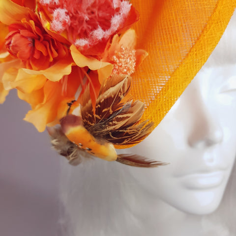 """Puesta de Sol"" Orange Flowers & Hummingbirds Fascinator Hat"