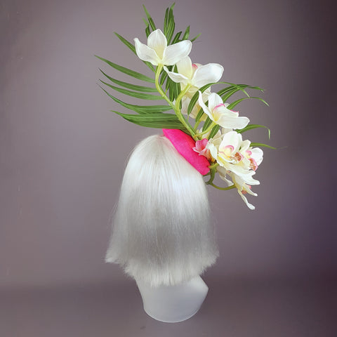 """Glow"" Neon Pink Orchid Flowers Fascinator Hat"