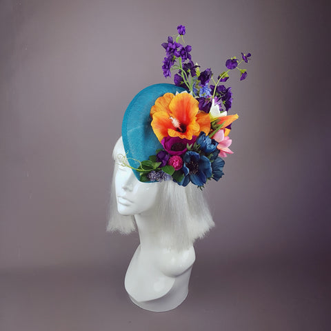 """Asteria"" Colourful Tropical Flower Fascinator Hat"