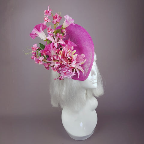 """Cyrena"" Pink Tropical Flowers Fascinator Hat"