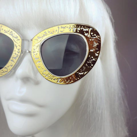 Gold Skull & Flower Cats Eye Sunglasses - SPECIAL OFFER