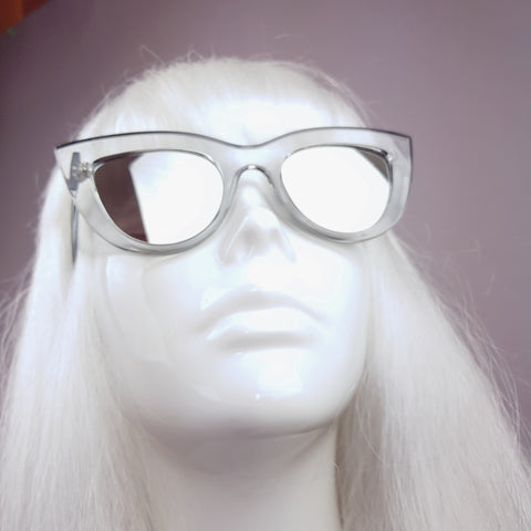 Grey with Mirror Lenses Cats Eye Sunglasses - SPECIAL OFFER